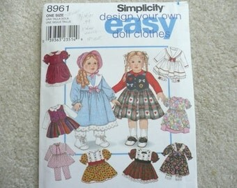 """Simplicty 8961 """"Design Your Own Easy Doll Clothes"""" - 18 Inch Doll Clothes Pattern - Simplicity Easy Doll Clothes Pattern"""