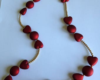 Red and Gold Necklace and Bracelet with Rubberized Acrylic Hearts & Rounds and Gold-Colored Beads