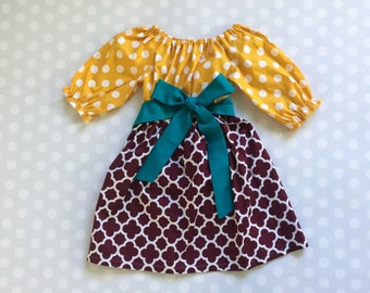 Size 4 - Ready to Ship - RTS - Mustard and Burgundy Dress - Girl's Fall Dress - Long Sleeve Dress - Baby Girl Dress - Girls Dresses