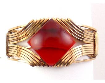 14K Gold-Filled Wire Deco Style Man's Ring, Red Lucite Jewel