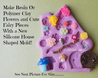 Silicone Fairy Mold, Dollhouse Miniatures, Flower Resin Mold, Fairy Door Molds, Mushroom Twig Polymer Clay Owl Mold, Fondant Mold