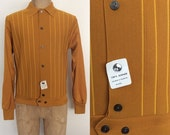 SALE 1950's Rockabilly Deadstock Mustard Yellow Cardigan Sweater Striped Men's Vintage Size Medium Large by Maeberry Vintage