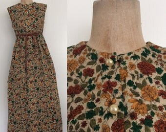 1970's Floral Cotton Quilted Maxi Jumper Dress Size Small by Maeberry Vintage