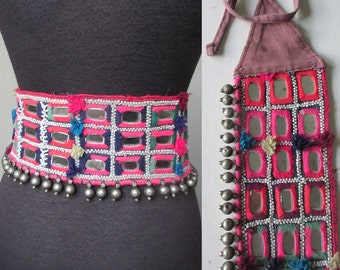 Antique Hand Crafted  Kutch Tribal Silver with Mirror Embroidery Banjara Gypsy Belt