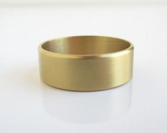 Solid Brass Band / Gold Ring - Slight Brushed Texture, Size 10 1/4