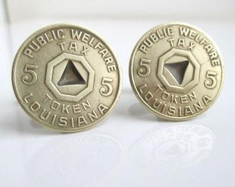 LOUISIANA Tax Token Cuff Links - Gold, Vintage Repurposed Coins