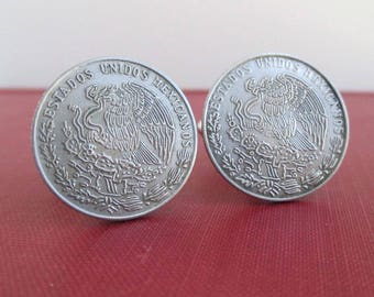 Mexico Coin Cuff Links - Silver Mexican Coat of Arms Repurposed Coins - Eagle & Serpent