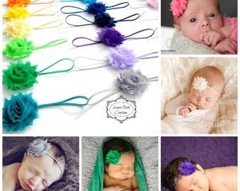 Baby Headband, You Pick 7, MINI Shabby Chic Rose Headband Set, Infant Headband, Newborn Headband, Children's Headband, Baby Girl Photo Prop