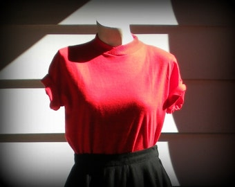 Vintage Short Sleeved Red Sweater Blouse