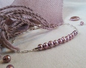 Mauve Freshwater Pearl Silver Chain Bracelet