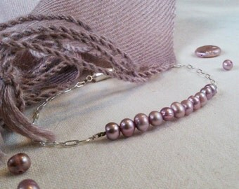 Mauve Freshwater Pearl Silver Chain Bracelet