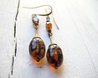 Bohemian Scarab Earrings, Czech Glass Jewellery, Long Scarab Dangle Earring, Golden Amber Beetle Earrings, Handmade Bohemian Bijoux