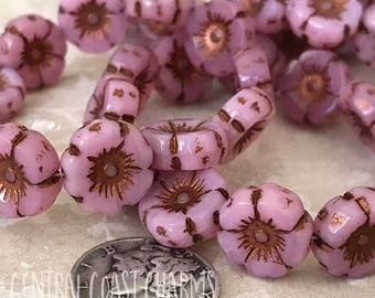 Czech Glass Opaque Flower Beads - 12mm x 5mm - Boho Chunky Daisy Posey - Opal Pink Copper Picasso Finish - 6 pcs - Central Coast Charms