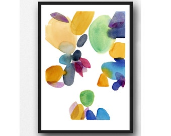 Autumn series watercolor print, Abstract painting colorful Watercolor Painting  modern home decor