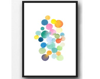 Dot painting, Modern watercolor art print, Abstract Watercolor painting, colorful wall art, Nursery decor