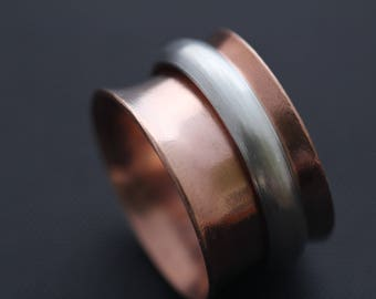 CO1007 - Meditation Ring, Spinner Ring, Copper Ring, Spinning Silver Ring,  7th Anniversary
