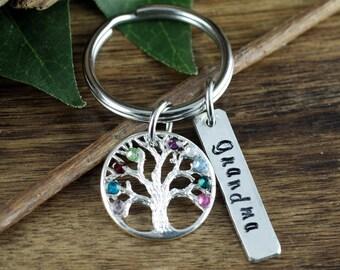 Family Tree Keychain, Personalized Birthstone Keychain, Grandmother Keychain, Gift for Grandma, Mothers Day Gift, Tree of Life Keychain