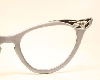 Unused Gray  Aluminum cat eye glasses  vintage cateye eyeglasses frames