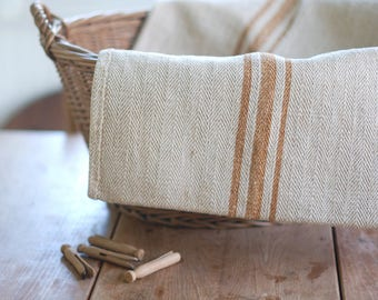 VINTAGE European Grain Sack with GOLD Stripes