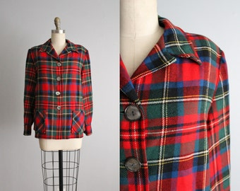 50's Pendleton 49er Jacket // Vintage 1950's Tartan Plaid Wool 49er Jacket L