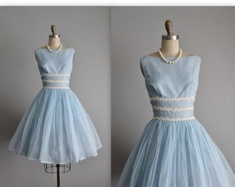STOREWIDE SALE 50's Flocked Chiffon Dress // Vintage 1950's Baby Blue Swiss Dot Flocked Chiffon Full Party Prom Dress XS