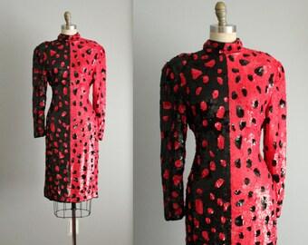 80's Beaded Trophy Dress // Vintage 1980's Red Black Spot Sequin Scarlet Rage Cocktail Party Evening Dress S M