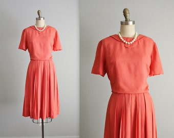 60's Coral Dress // Vintage 1960's Coral Full Pleated Skirt Mad Men Dress S
