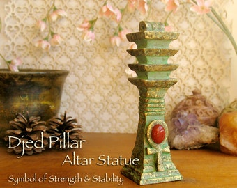 The Djed Pillar with Ankh Symbol and Carnelian Cabochon - Symbol of Stability & Strength - Handmade Altar Statue -Golden Brass Patina Finish