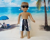 Swim Trunks 18 inch boy doll american made girl navy blue squid turquoise beach shorts summer clothes tie front anchors