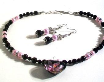 Heart Pendant, Black & Pale Violet Pearl Necklace Set, Pendant Necklace Set, 2 Piece Set