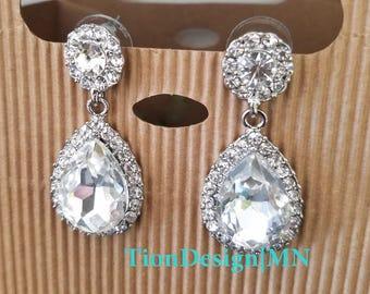 Bridal Rhinestone earrings, Bridal jewelry, Drop earrings 2709-S