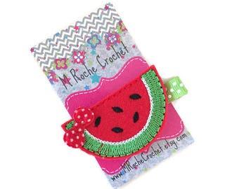 Watermelon hair clip, watermelon felt clip, red watermelon clip, baby hair clip, toddler hair clip, hair accessory, baby barrettes