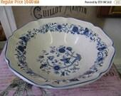 Vintage Serving Bowl Blue White Floral design