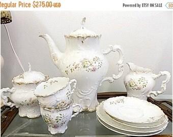 Antique Limoges Style Tea Set - Teapot Creamer Sugar Cups Saucers - Cottage Chic - Paris Apartment