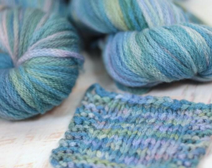 "Hand dyed Yarn Superwash Merino ""Angelica"" chainette  'dreams' Swoon Fibers OOAK"
