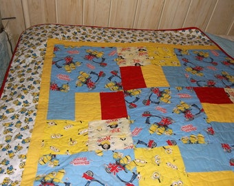 """MINIONS QUILT NEW Lap/Bunk/Toddler/Child/Twin appx 64"""" X 88"""" blue, yellow, red/ Despicable Me"""