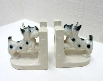 Vintage Ceramic Scottie Bookends Made In Japan