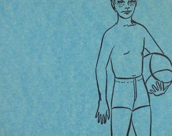 Vintage Boys Swim Suit Pattern, Trunks, Bathing Suit, Sewing
