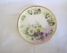 Small Antique Cabinet / Salad Plate BEYER & BOCK Prussia Germany Daisies Royal Rudolstadt