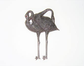 Vintage Sterling Unsigned Mosell Marcasite Flamingo Brooch