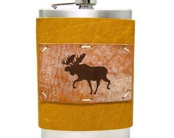 8oz Moose Flask Homemade in Aspen in Honey Ginger