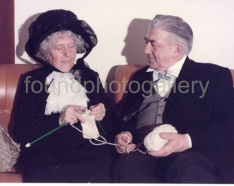 Vintage Photo, Old Couple in 19th Century Costumes, Women Knitting, Color Photo, Found Photo, Old Photo, Snapshot, Germany