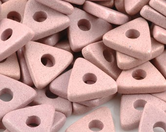 Ceramic-10mm Triangle Disc Beads-Sienna Pink-Quantity 25
