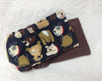 Male Dog Belly Band Diaper Pet Doggie Wrap Pants Brown Dog Faces On Cotton Flannel Custom Sizes To 30 Inches