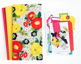 Watercolor Floral Cottage Boho Planner Inserts . Set of 3 . Red Pink Field Notes Pocket Micro A6 A5 Micro Tiny TN Travelers Notebook Midori