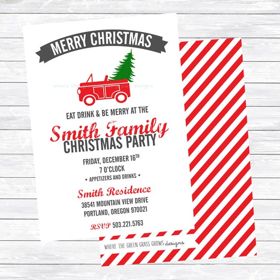 Red Car with Tree Christmas Party Invitations