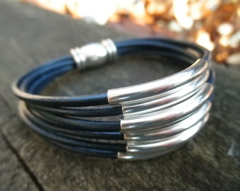 Multi-Strand Navy Leather Cuff Bracelet with Silver Tube Beads