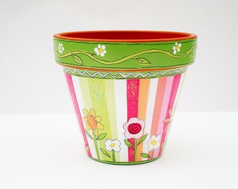 "Hand Painted Flower Pot  4 Inch Terracotta Planter ""Sherbet Stripes""- Ready to Ship"