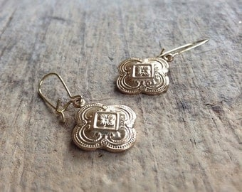 Small Gold Quatrefoil Earrings, Moroccan Earrings, GoldEarrings, Bohemian Earrings, Bohemian Jewelry, 17mm Charm, Mother's Day