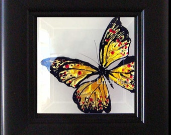 Monarch Butterfly Art Original Painting - Framed in Black frame